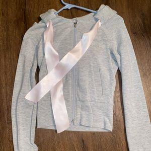 Bebe grey hoodie. Pink rhinestones